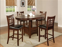 Hartwell 5 Piece Counter Height Dining Set in Dark Oak Finish by Crown Mark - 2795
