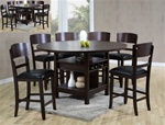 Conner 7 Piece Counter Height Dining Set in Dark Walnut Finish by Crown Mark - 2849
