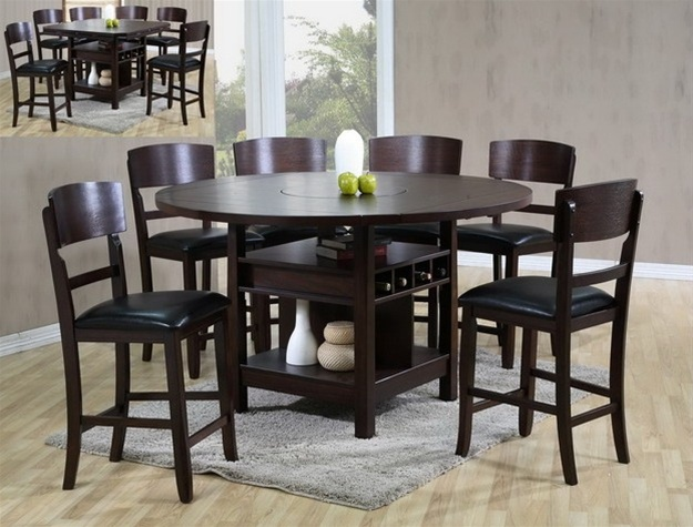 Conner 7 Piece Counter Height Dining Set In Dark Walnut Finish By Crown  Mark   2849