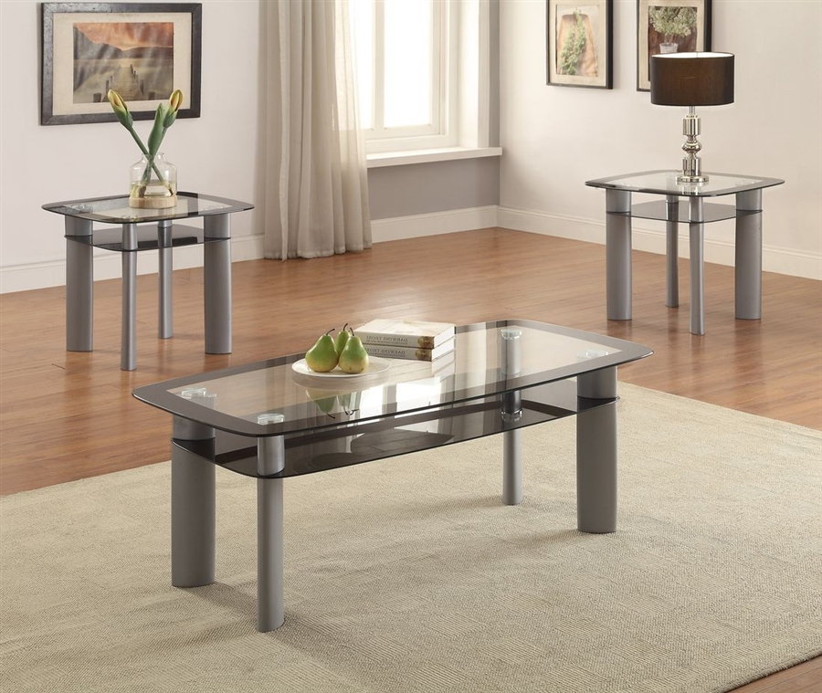 Echo 3 Piece Occasional Table Set In Grey Finish By Crown Mark Cm 3170