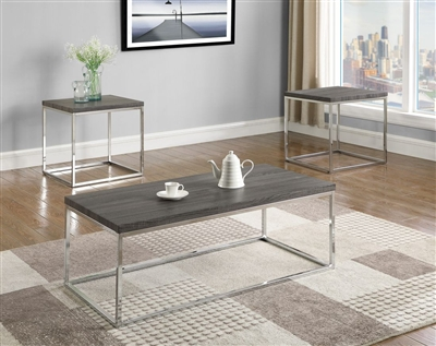 Britt 3 Piece Occasional Table Set in Silver Finish by Crown Mark - CM-3701