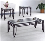 Matrix 3 Piece Occasional Table Set in Black Finish by Crown Mark - CM-3702