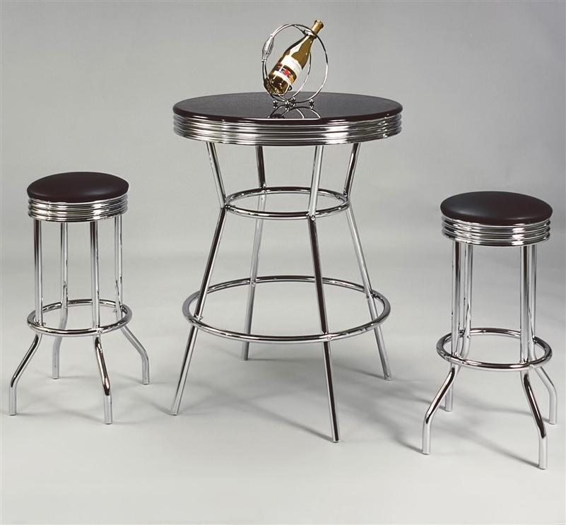 Bar Table Chairs Set Crown Mark Alyssa 3 Piece Bar Table: Retro 3 Piece Bar Set By Crown Mark