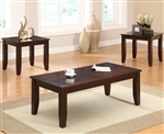 Vincent 3 Piece Occasional Table Set in Warm Brown Finish by Crown Mark - CM-4009