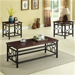 Benjamin 3 Piece Occasional Table Set in Rich Brown Finish by Crown Mark - CM-4021