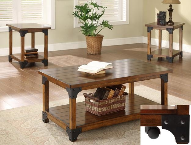William 3 Piece Occasional Table Set In Rustic Oak Finish By Crown Mark    4159