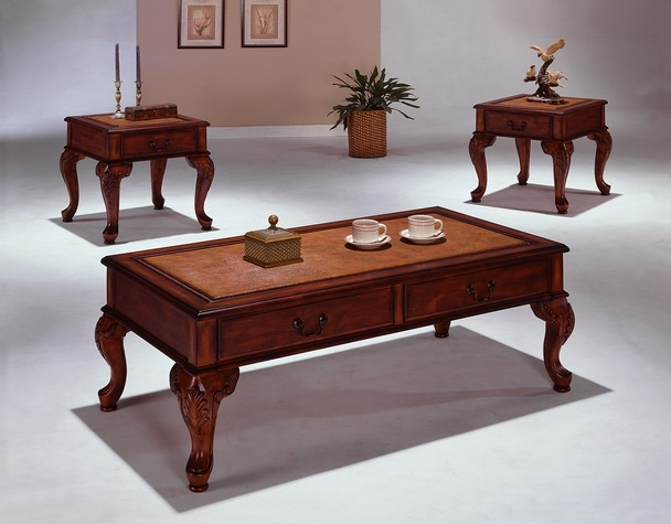 Explorer 3 Piece Occasional Table Set In Cherry Finish By Crown Mark   4205