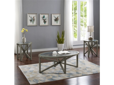 Cole 3 Piece Occasional Table Set in Grey Finish by Crown Mark - CM-4249-GY