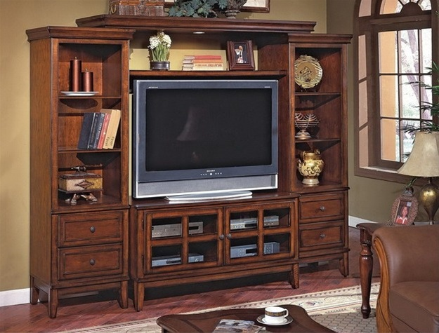 Hawthorne 4 Piece Entertainment Center In Cherry Finish By Crown Mark 4848