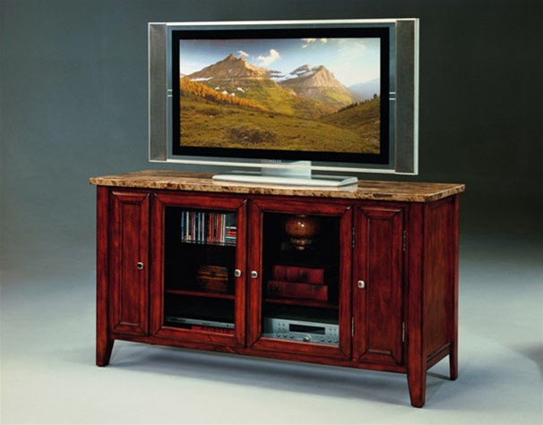 Samuel 60 Tv Console With Faux Marble Top In Cherry Finish By Crown Mark 4866