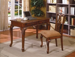 Fairfax Home Office Desk & Chair in Brown Cherry Finish by Crown Mark - 5205