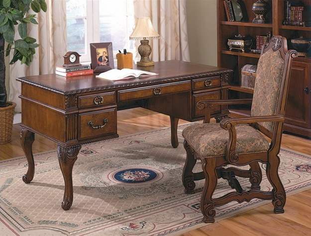 home office set. neo renaissance 2 piece home office set in cherry finish by crown mark 5400