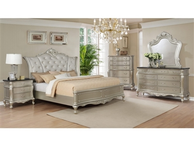 Angelina 6 Piece Bedroom Suite in Metallic Silver Finish by Crown Mark - CM-B1020