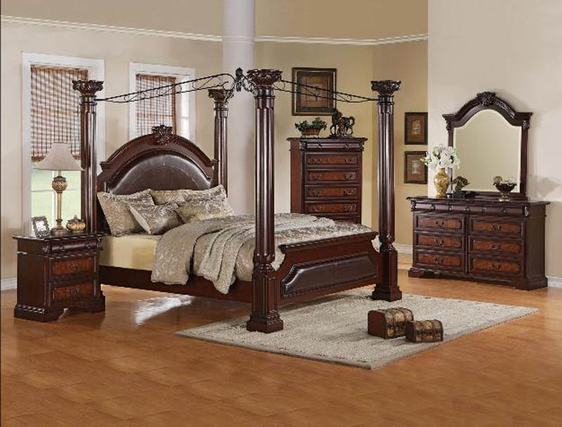 Neo Renaissance 6 Piece Bedroom Canopy Suite In Two Tone Finish By Crown Mark B1470