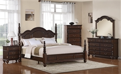 Georgia 6 Piece Bedroom Suite in Rich Brown Finish by Crown Mark - B1550
