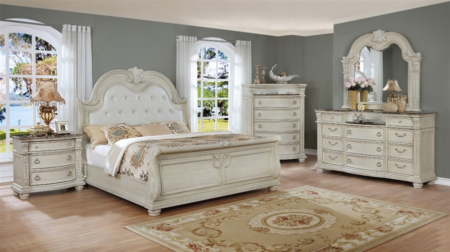 Stanley Sleigh 6 Piece Bedroom Suite in Antique White Finish by Crown Mark - CM-B1630