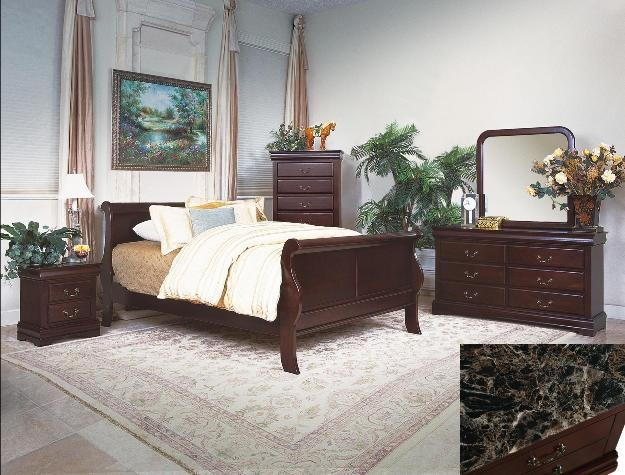 Marble Bedroom Set >> Louis Philip Youth 4 Piece Marble Bedroom Set In Dark Cherry Finish