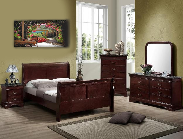 Louis Philip Youth 4 Piece Marble Bedroom Set In Distressed Dark Cherry  Finish By Crown Mark   B3750 T