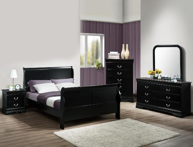 Louis Philip Marble 6 Piece Bedroom Suite In Black Finish By Crown Mark    B3780
