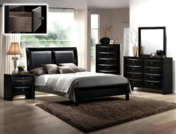 Emily Bycast Headboard Platform Bed 6 Piece Bedroom Suite in Black Finish by Crown Mark - B4280
