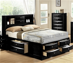 Emily Storage Captain Bed in Black Finish by Crown Mark - B4285-Bed