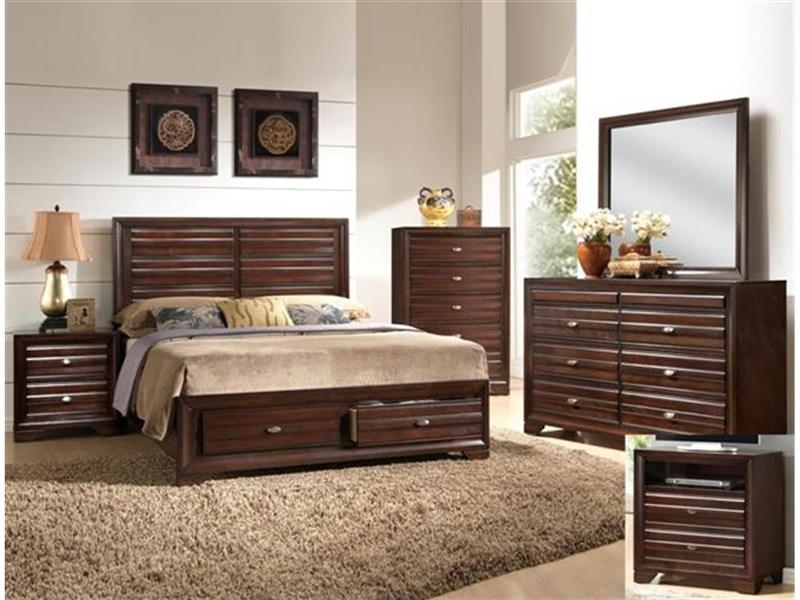 Stella Storage Bed in Rich Brown Finish by Crown Mark - B4550-Bed