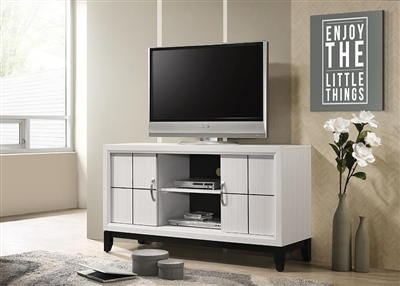 "Akerson 55"" TV Console in Chalk Finish by Crown Mark - CM-B4610-8"