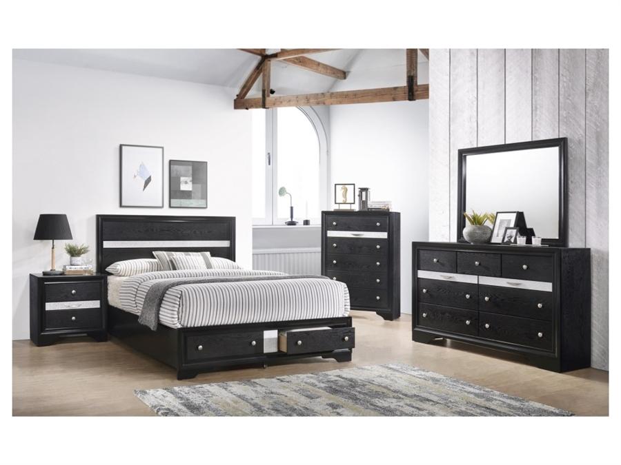 Regata 6 Piece Bedroom Suite in Black/Silver Finish by Crown Mark - CM-B4670