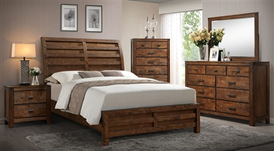 Curtis 6 Piece Bedroom Suite in Rustic Finish by Crown Mark - CM-B4800