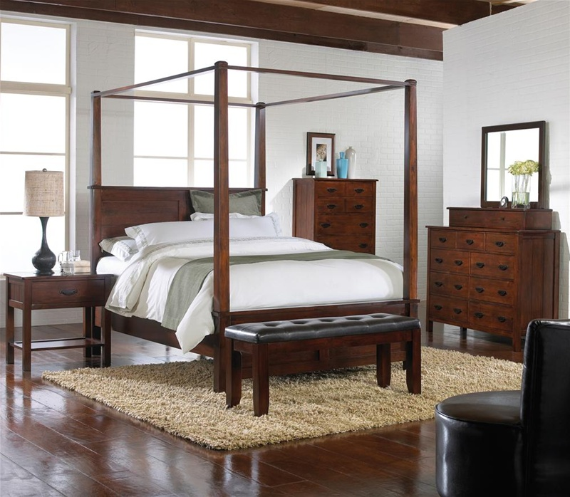 Carey Canopy Bed 6 Piece Bedroom Suite in Espresso Finish by Crown Mark -  B5200C