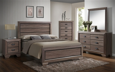 Farrow 6 Piece Bedroom Suite in Brown/Grey Finish by Crown Mark - CM-B5500