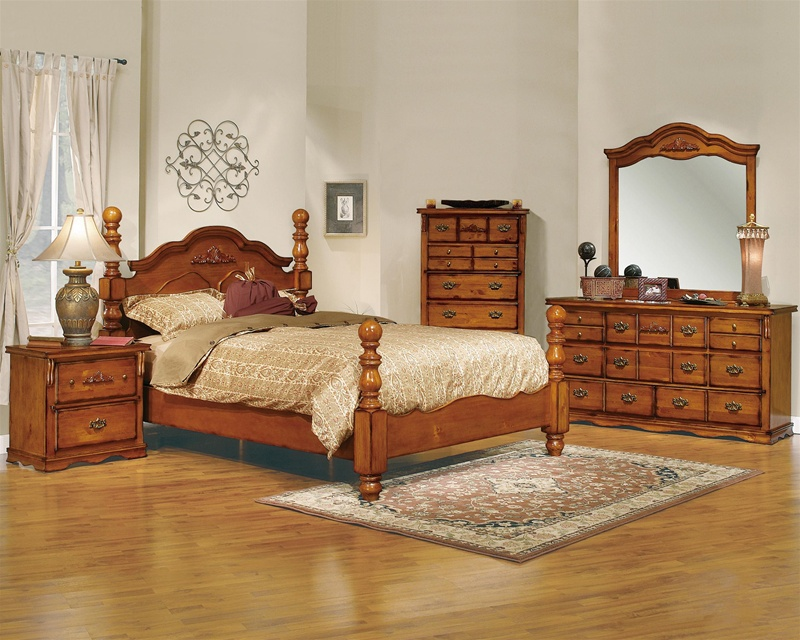 Bedroom Suite In Honey Pine Finish