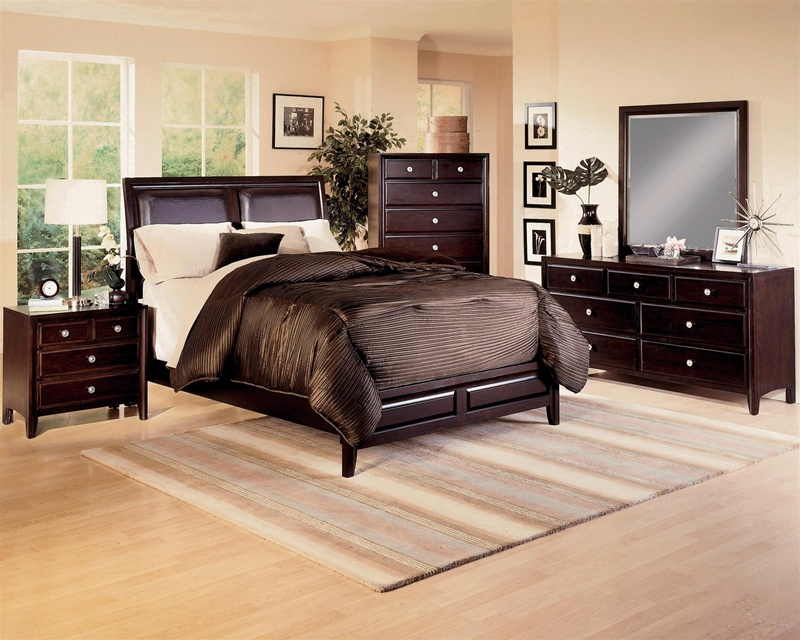 Brown Bycast Headboard 6 Piece Bedroom Suite in Espresso Finish by ...