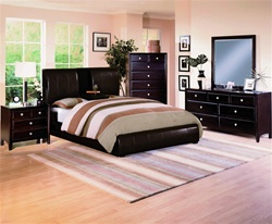 Flynn Dark Brown Bycast Upholstered Platform Bed 6 Piece Bedroom Suite in Espresso Finish by Crown Mark - B6285