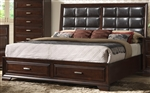 Jacob Storage Upholstered Bed in Espresso Finish by Crown Mark - B6515-Bed