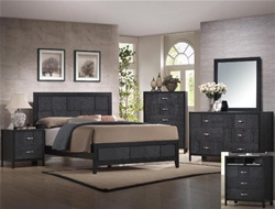 Bergamo 4 Piece Youth Bedroom Set in Black Finish by Crown Mark - B6810T