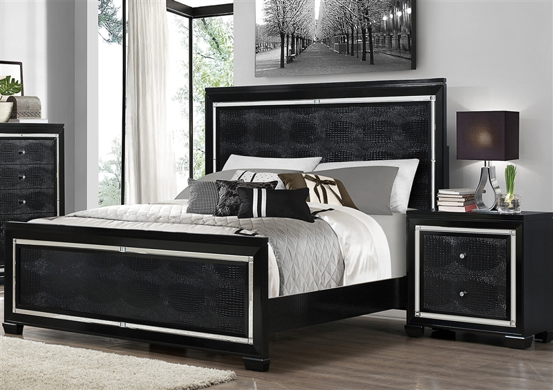 Aria 6 Piece Bedroom Suite in Black Finish by Crown Mark - B7200