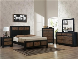 Chatham 6 Piece Bedroom Suite in Black and Brown Rustic Finish by Crown Mark - B8600