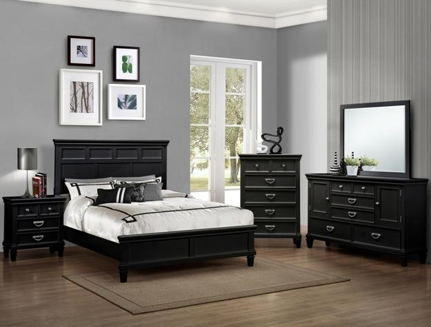 Hannah 6 piece bedroom suite in black finish by crown mark for Black bedroom suite