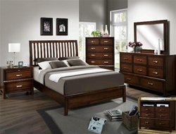 Doorian Mission Style Headboard Panel Bed 6 Piece Bedroom Suite in Espresso Finish by Crown Mark - B9670
