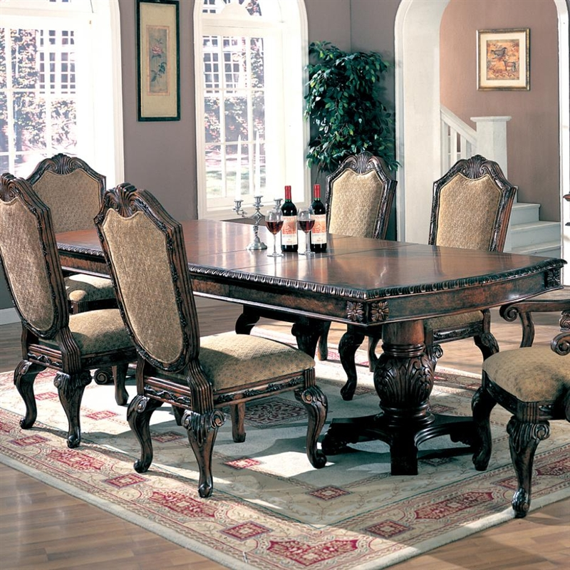 & Saint Charles 7 Piece Dining Set in Brown Finish by Coaster - 100131