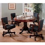 Three In One Bumper/Poker/Dining 5 Piece Table Set in Dark Oak Finish by Coaster -100201