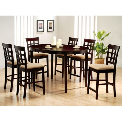 Rich Cappuccino 7 Piece Oval Counter Height Table Set With Wheat Back  Design Barstools By Coaster 100208C