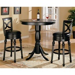 Black Finish Round Top Counter Height 3 Piece Bar Table Set by Coaster - 100278