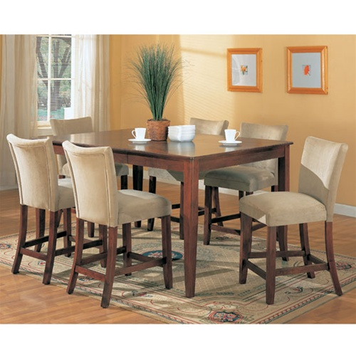 Soho Counter Height 7 Piece Dining Set In Cherry Finish By Coaster   100355