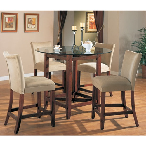 Soho Counter Height 5 Piece Dining Set In Cherry Finish With Round Gl Table Top By Coaster 100356