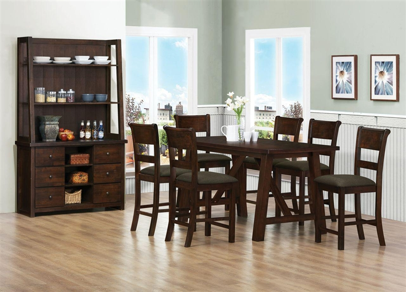Julius 5 Piece Counter Height Dining Set In Rustic Walnut Finish By