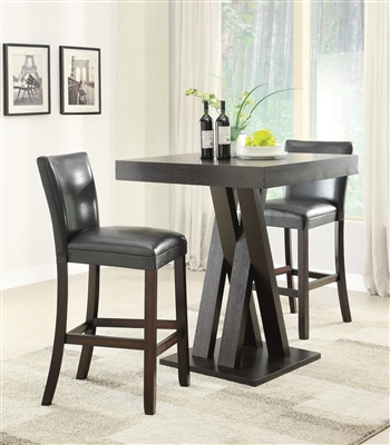 3 Piece Bar Table Set in Cappuccino Finish by Coaster - 100520