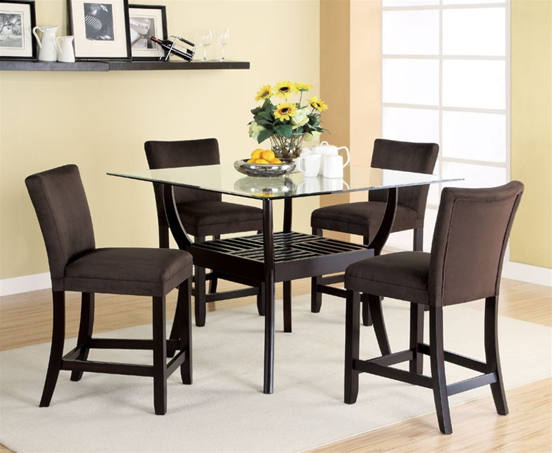 5 Piece Glass Top Counter Height Table Set In Cappuccino Finish By Coaster    100588