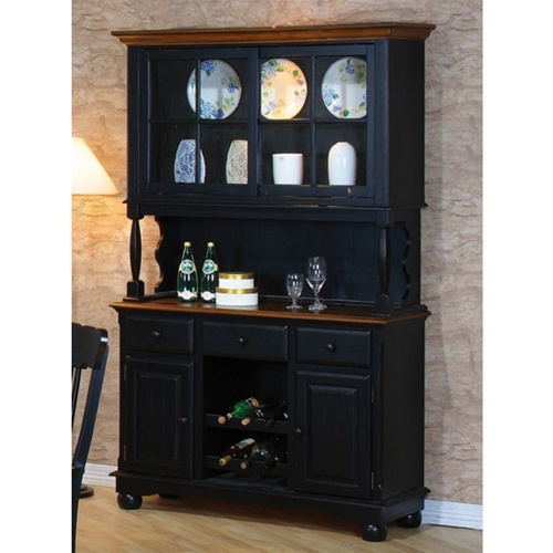 Clic Country Look Buffet Hutch In Black Pine Finish By Coaster 100594